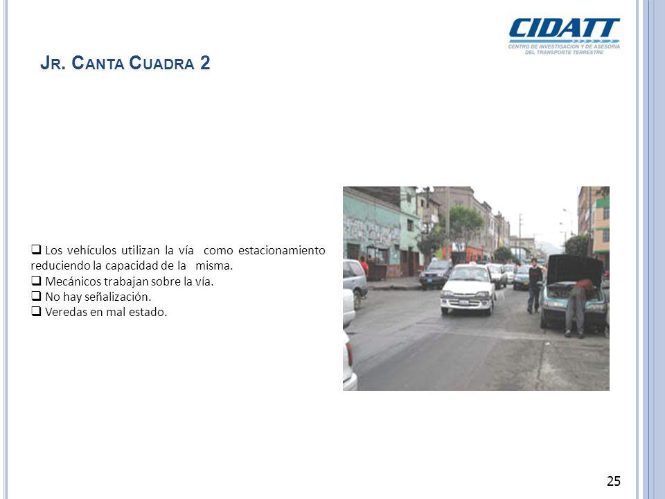 J R. C ANTA C UADRA 2 Los vehículos utilizan la vía como estacionamiento reduciendo la capacidad de la misma. Mecánicos trabajan sobre la vía. No hay