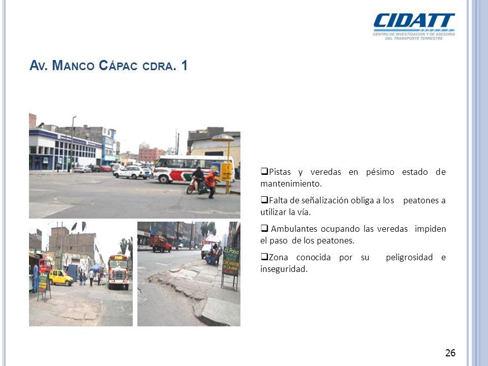 A V. M ANCO C ÁPAC CDRA. 1 Pistas y veredas en pésimo estado de mantenimiento. Falta de señalización obliga a los peatones a utilizar la vía. Ambulant