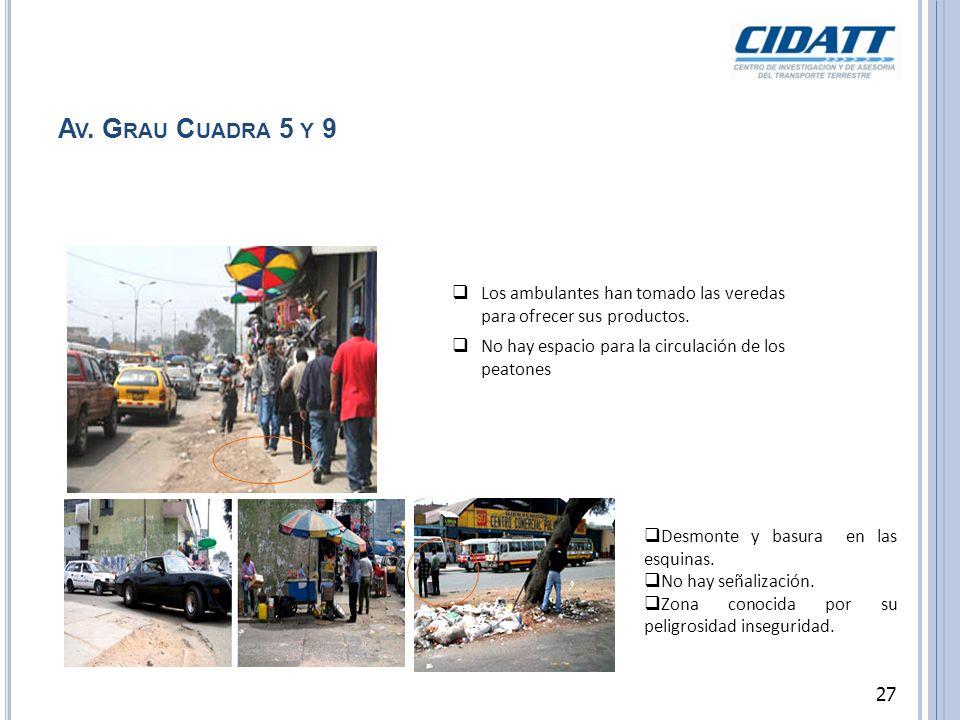 A V. G RAU C UADRA 5 Y 9 Los ambulantes han tomado las veredas para ofrecer sus productos. No hay espacio para la circulación de los peatones Desmonte