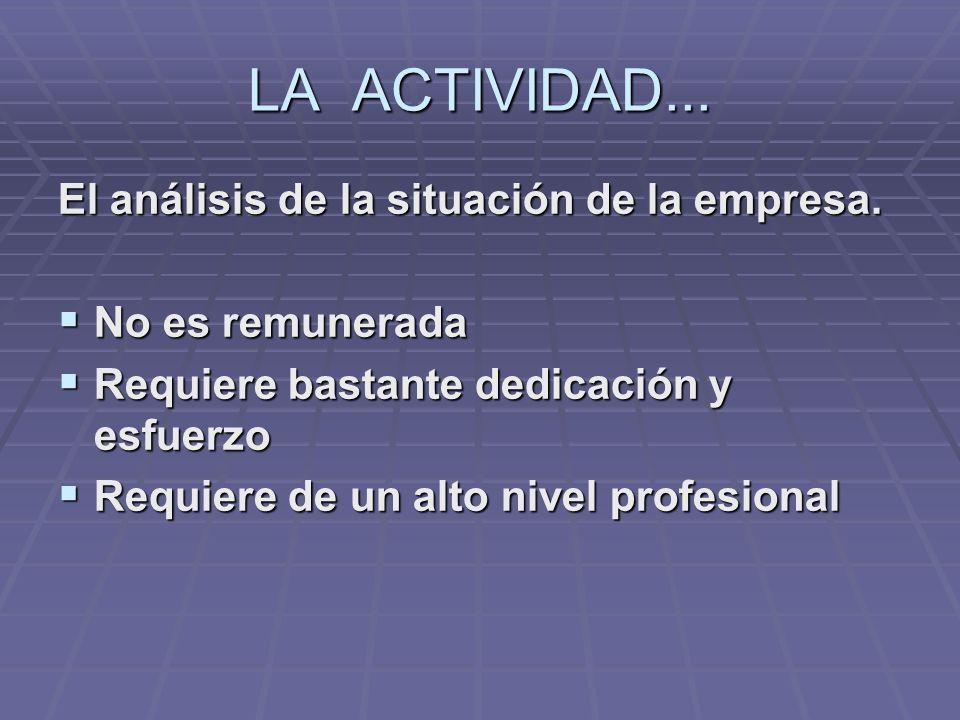 LA ACTIVIDAD... El análisis de la situación de la empresa.