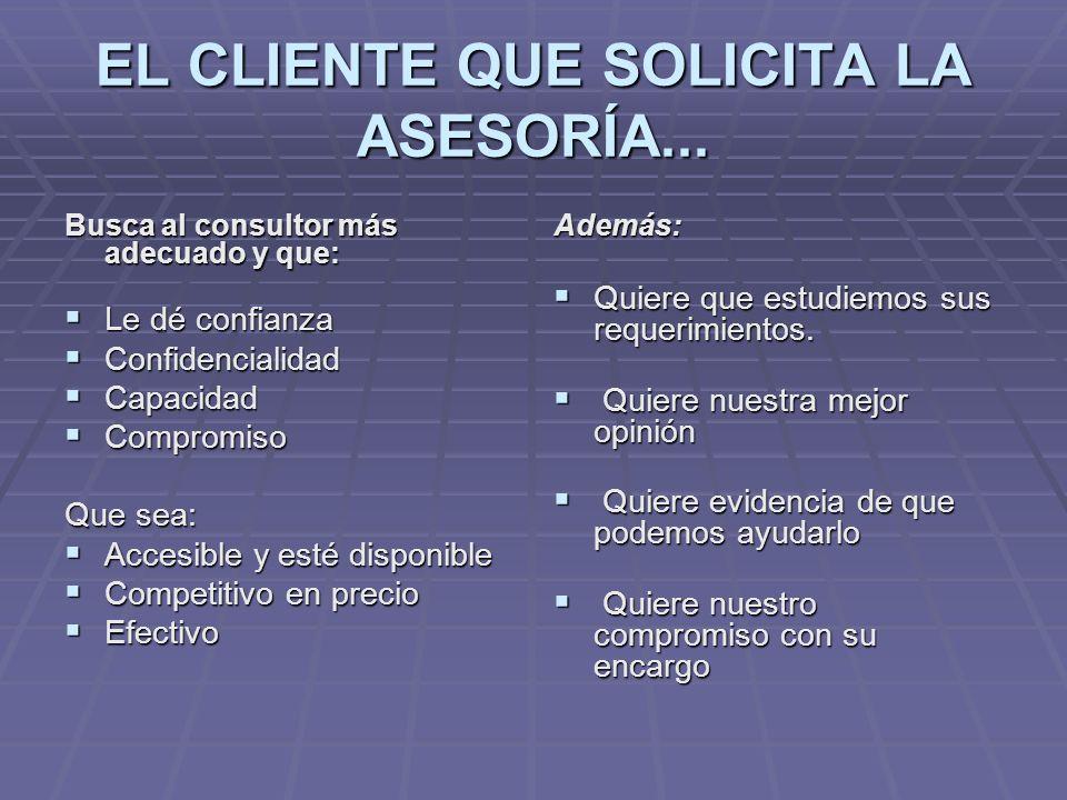 EL CLIENTE QUE SOLICITA LA ASESORÍA...