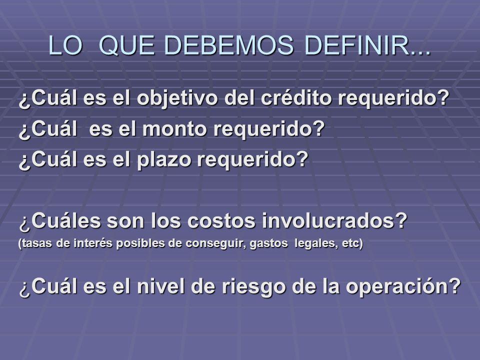 LO QUE DEBEMOS DEFINIR... ¿Cuál es el objetivo del crédito requerido.