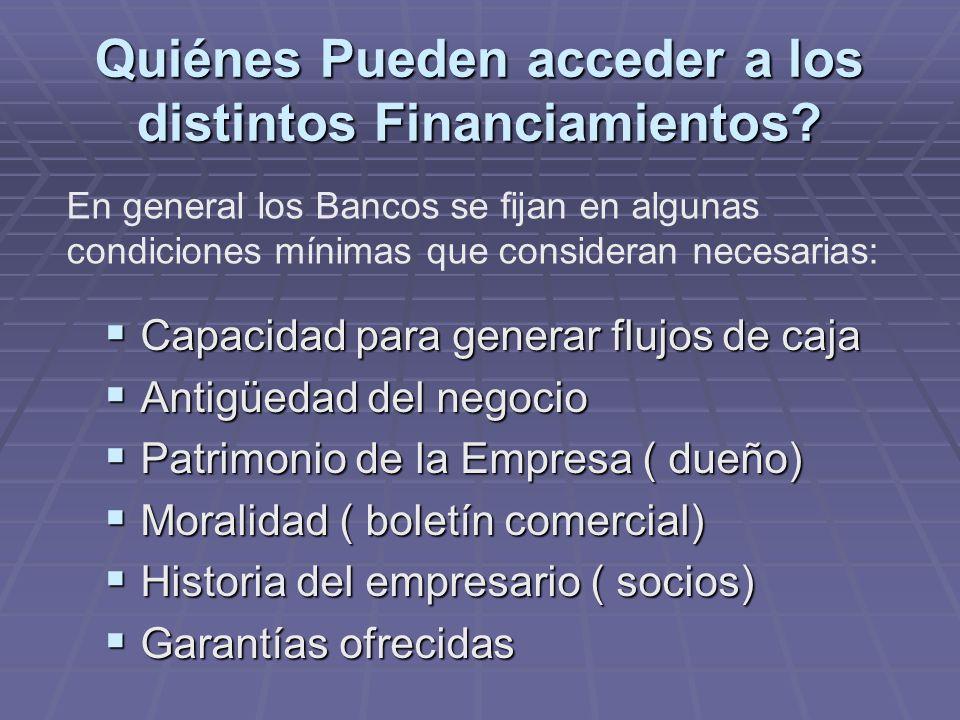 Quiénes Pueden acceder a los distintos Financiamientos.