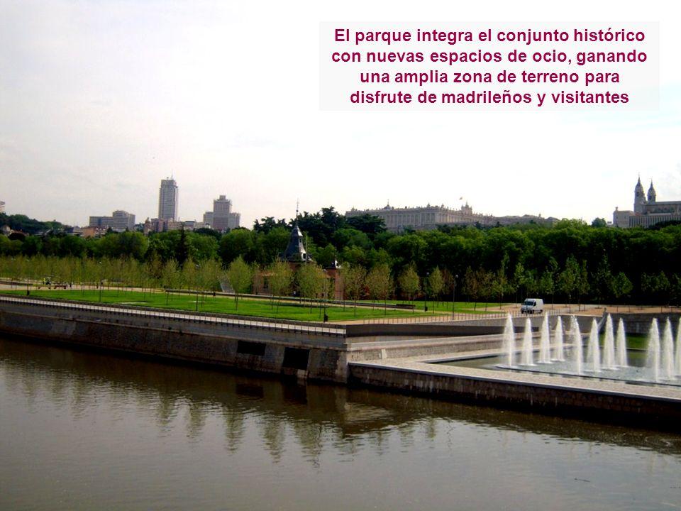 El parque integra el conjunto histórico con nuevas espacios de ocio, ganando una amplia zona de terreno para disfrute de madrileños y visitantes