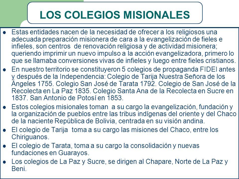 LOS COLEGIOS MISIONALES Estas entidades nacen de la necesidad de ofrecer a los religiosos una adecuada preparación misionera de cara a la evangelizaci