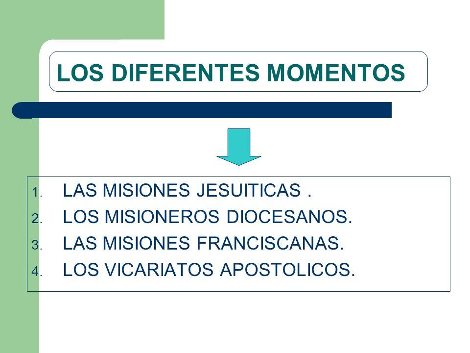 LOS DIFERENTES MOMENTOS 1. LAS MISIONES JESUITICAS. 2. LOS MISIONEROS DIOCESANOS. 3. LAS MISIONES FRANCISCANAS. 4. LOS VICARIATOS APOSTOLICOS.