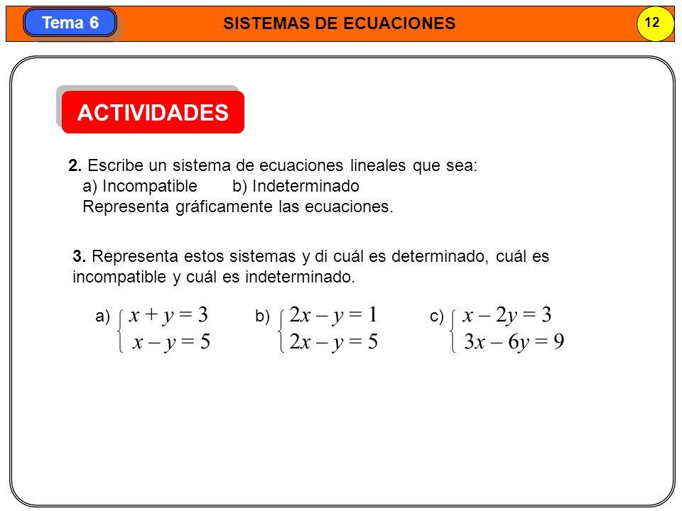 SISTEMAS DE ECUACIONES 13 Tema 6 3.