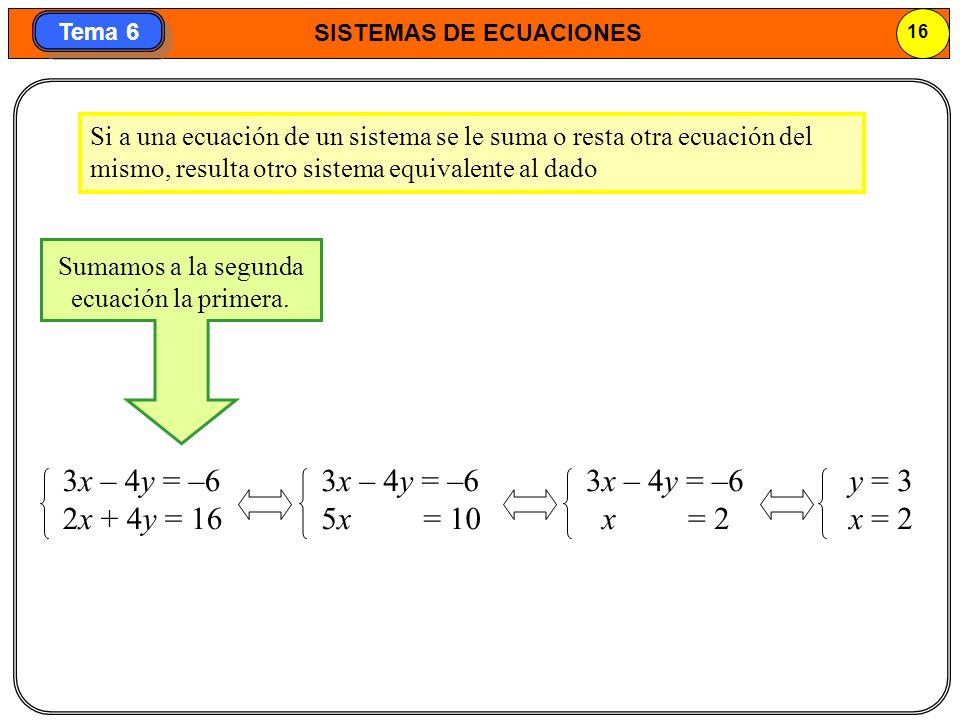 SISTEMAS DE ECUACIONES 17 Tema 6 4.