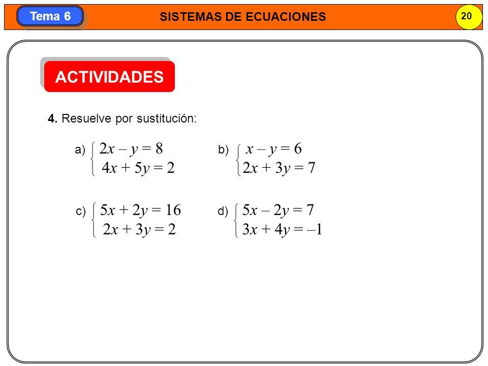 SISTEMAS DE ECUACIONES 21 Tema 6 MÉTODO DE IGUALACIÓN En este método se despeja la misma incógnita en las dos ecuaciones y se igualan las expresiones obtenidas.