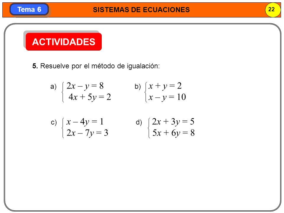 SISTEMAS DE ECUACIONES 23 Tema 6 MÉTODO DE REDUCCIÓN Consiste en multiplicar las ecuaciones por los números adecuados para que, al sumarlas, desaparezca una de las incógnitas.