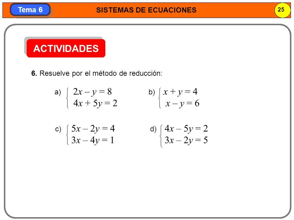 SISTEMAS DE ECUACIONES 26 Tema 6 Si las ecuaciones del sistema no están en forma general, primero las expresamos en forma general y después aplicamos un método.