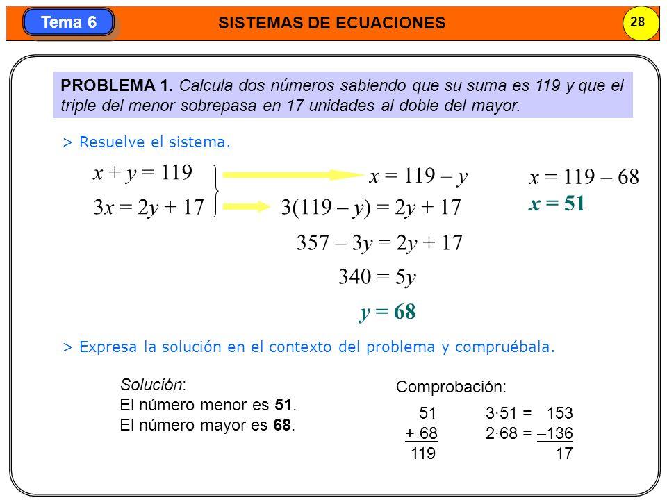 SISTEMAS DE ECUACIONES 29 Tema 6 PROBLEMA 2.