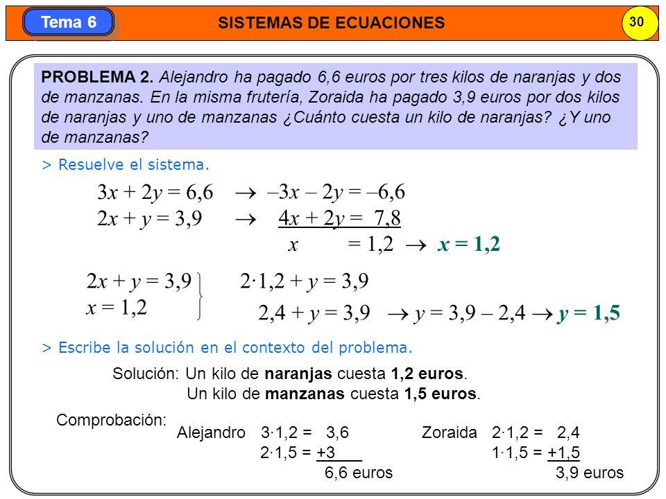 SISTEMAS DE ECUACIONES 31 Tema 6 PROBLEMA 3.