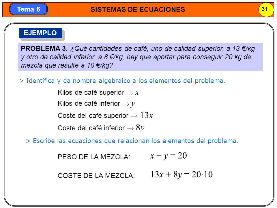 SISTEMAS DE ECUACIONES 32 Tema 6 > Resuelve el sistema.