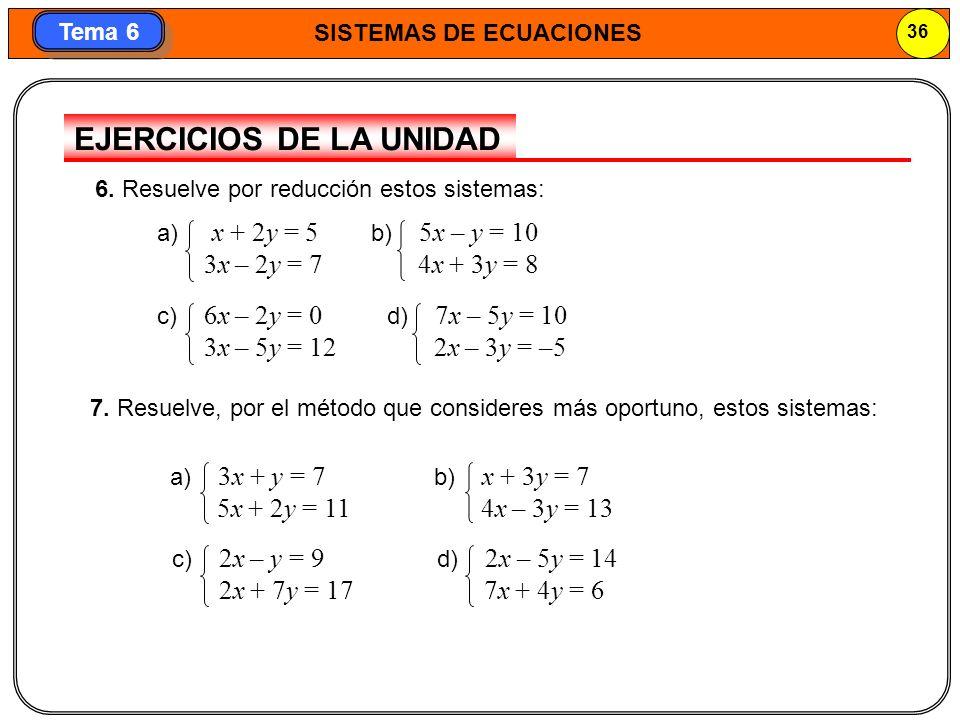 SISTEMAS DE ECUACIONES 37 Tema 6 9.