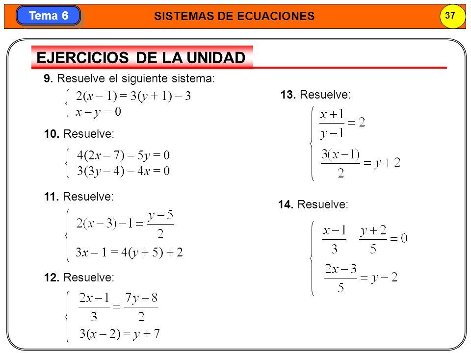 SISTEMAS DE ECUACIONES 38 Tema 6 Problemas para resolver con sistemas de ecuaciones 15.