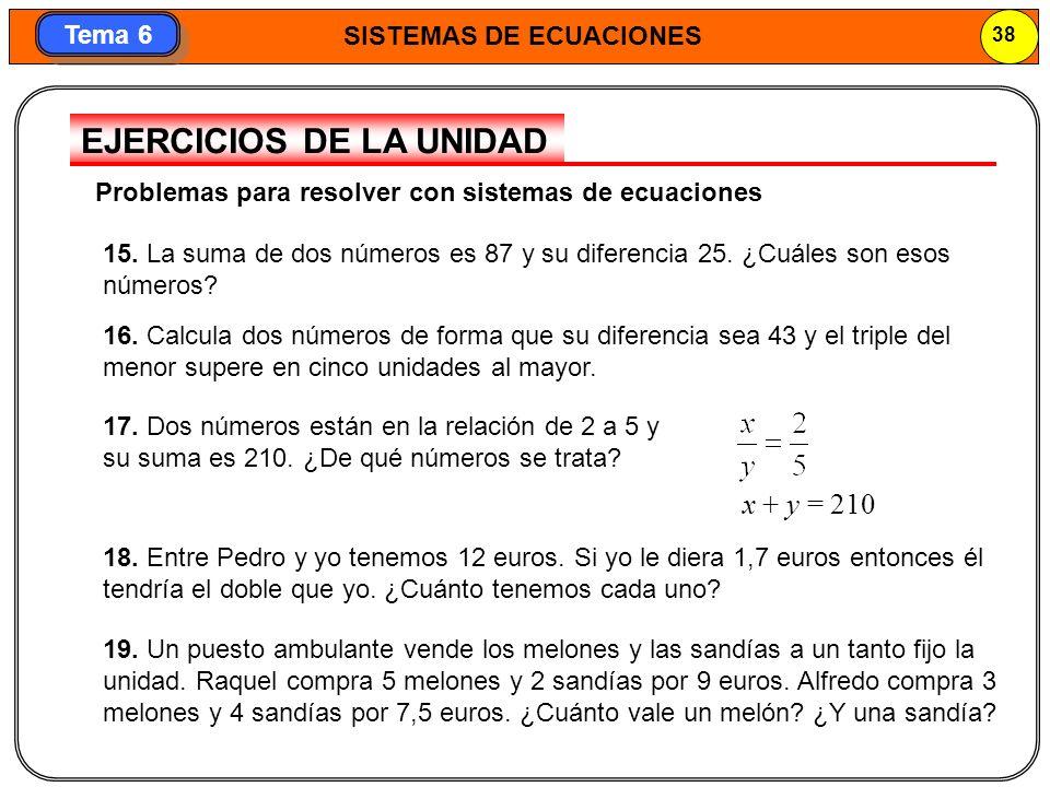 SISTEMAS DE ECUACIONES 39 Tema 6 20.