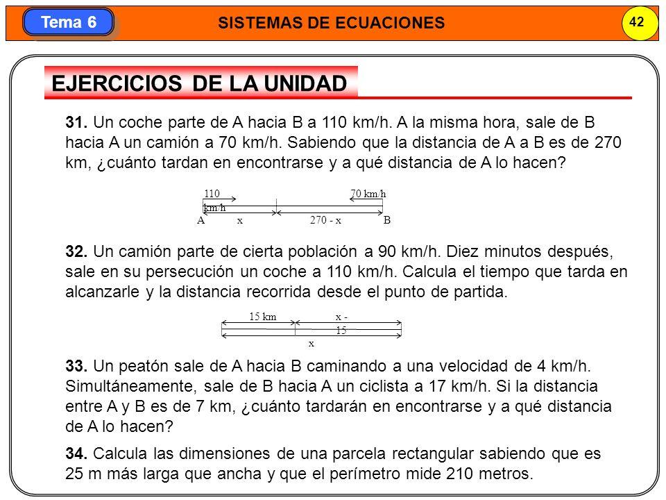 SISTEMAS DE ECUACIONES 43 Tema 6 SISTEMAS DE ECUACIONES LINEALES · La solución de un sistema de ecuaciones lineales es el par de valores que satisface ambas ecuaciones a la vez.