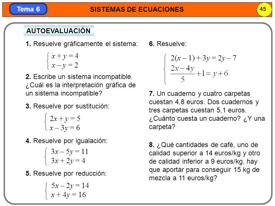 SISTEMAS DE ECUACIONES 45 Tema 6 AUTOEVALUACIÓN 1.
