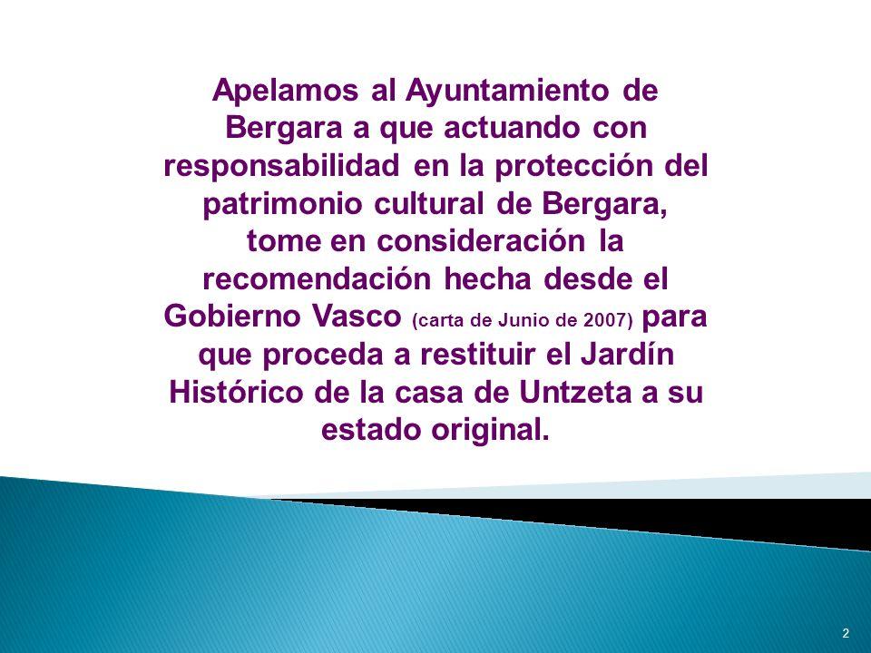 12 En 2006, ante el evidente peligro de perder los jardines y la negativa postura inicial del Ayuntamiento, optamos por solicitar al Departamento de Cultura del Gobierno Vasco que estos parques fueran declarados como bien cultural.