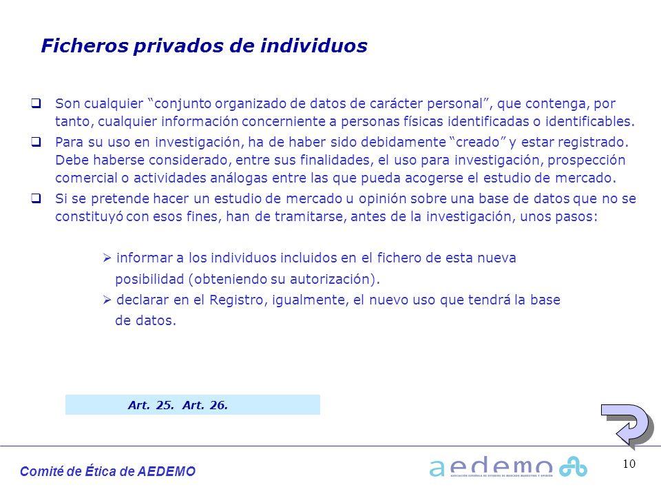 Comité de Ética de AEDEMO 10 Ficheros privados de individuos Son cualquier conjunto organizado de datos de carácter personal, que contenga, por tanto,