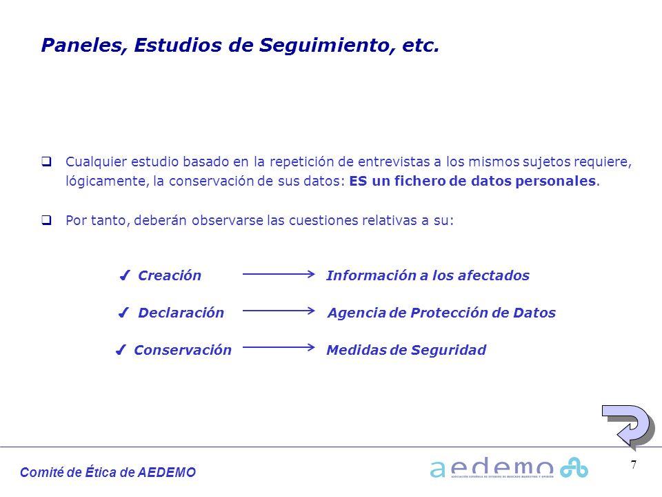Comité de Ética de AEDEMO 7 Paneles, Estudios de Seguimiento, etc. Cualquier estudio basado en la repetición de entrevistas a los mismos sujetos requi