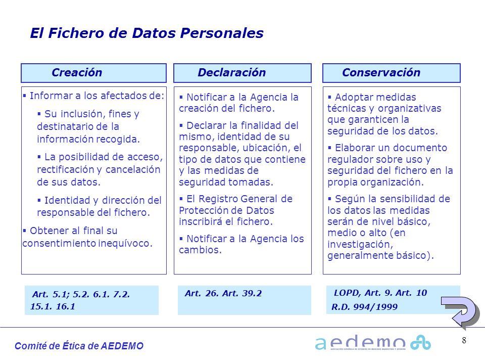Comité de Ética de AEDEMO 8 El Fichero de Datos Personales Informar a los afectados de: Su inclusión, fines y destinatario de la información recogida.