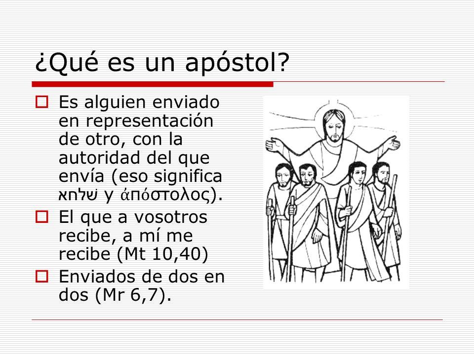 ¿Qué es un apóstol? Es alguien enviado en representación de otro, con la autoridad del que envía (eso significa שׁלחא y π στολος). El que a vosotros r