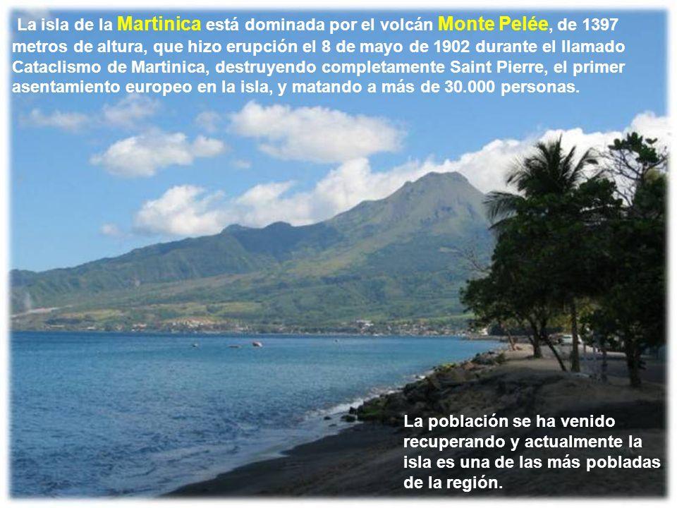 La isla de la Martinica está dominada por el volcán Monte Pelée, de 1397 metros de altura, que hizo erupción el 8 de mayo de 1902 durante el llamado Cataclismo de Martinica, destruyendo completamente Saint Pierre, el primer asentamiento europeo en la isla, y matando a más de 30.000 personas.