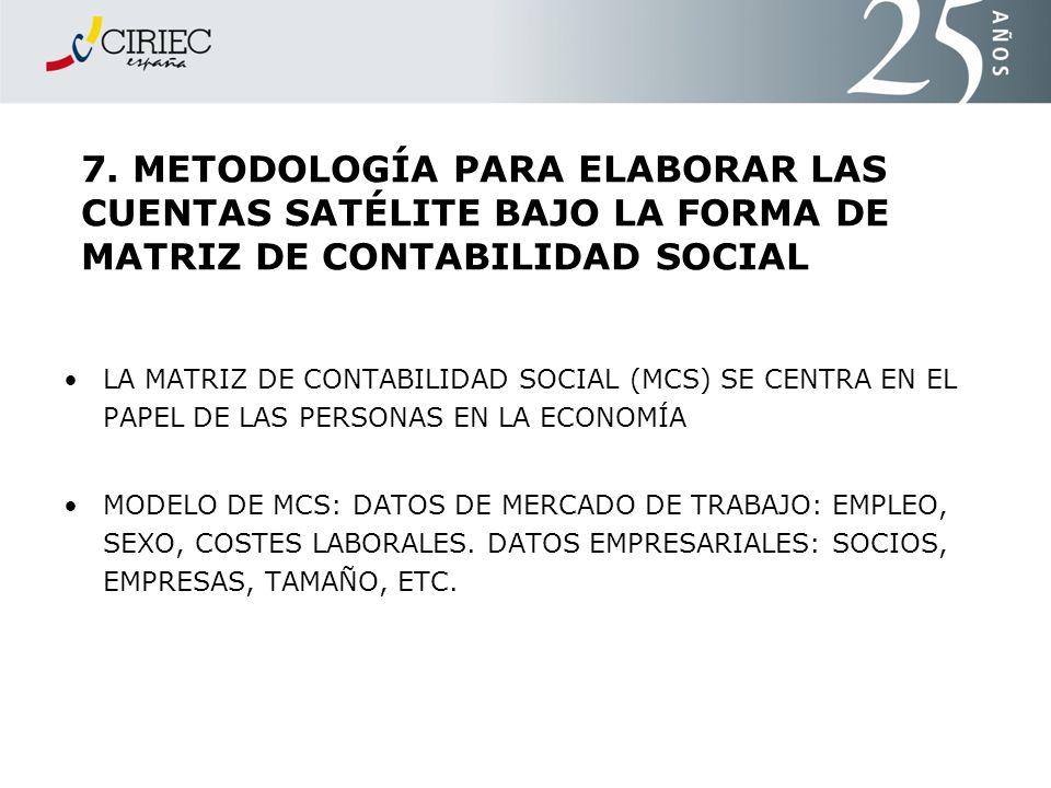 7. METODOLOGÍA PARA ELABORAR LAS CUENTAS SATÉLITE BAJO LA FORMA DE MATRIZ DE CONTABILIDAD SOCIAL LA MATRIZ DE CONTABILIDAD SOCIAL (MCS) SE CENTRA EN E