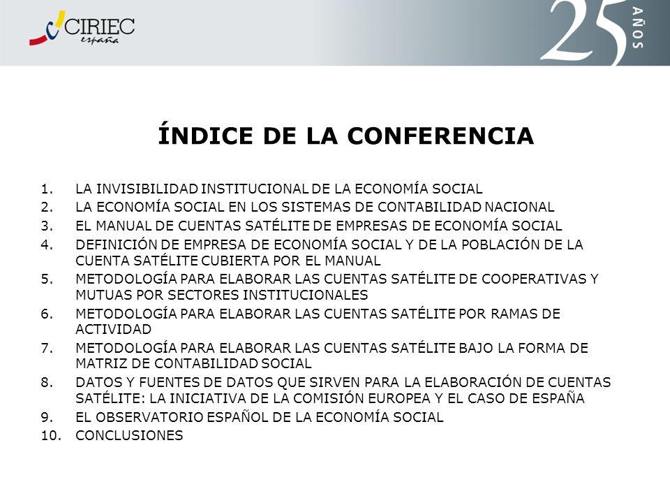 ÍNDICE DE LA CONFERENCIA 1.LA INVISIBILIDAD INSTITUCIONAL DE LA ECONOMÍA SOCIAL 2.LA ECONOMÍA SOCIAL EN LOS SISTEMAS DE CONTABILIDAD NACIONAL 3.EL MAN