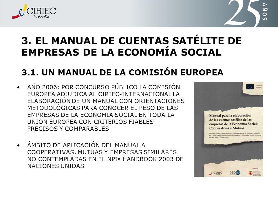 3. EL MANUAL DE CUENTAS SATÉLITE DE EMPRESAS DE LA ECONOMÍA SOCIAL 3.1. UN MANUAL DE LA COMISIÓN EUROPEA AÑO 2006: POR CONCURSO PÚBLICO LA COMISIÓN EU