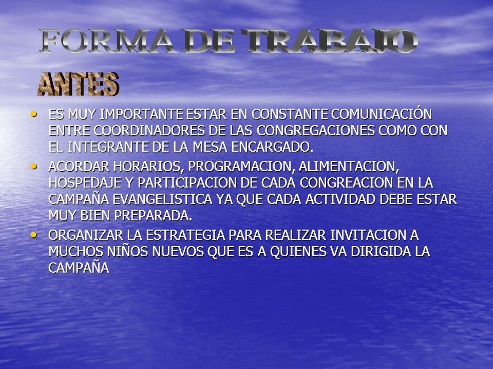 ES MUY IMPORTANTE ESTAR EN CONSTANTE COMUNICACIÓN ENTRE COORDINADORES DE LAS CONGREGACIONES COMO CON EL INTEGRANTE DE LA MESA ENCARGADO.