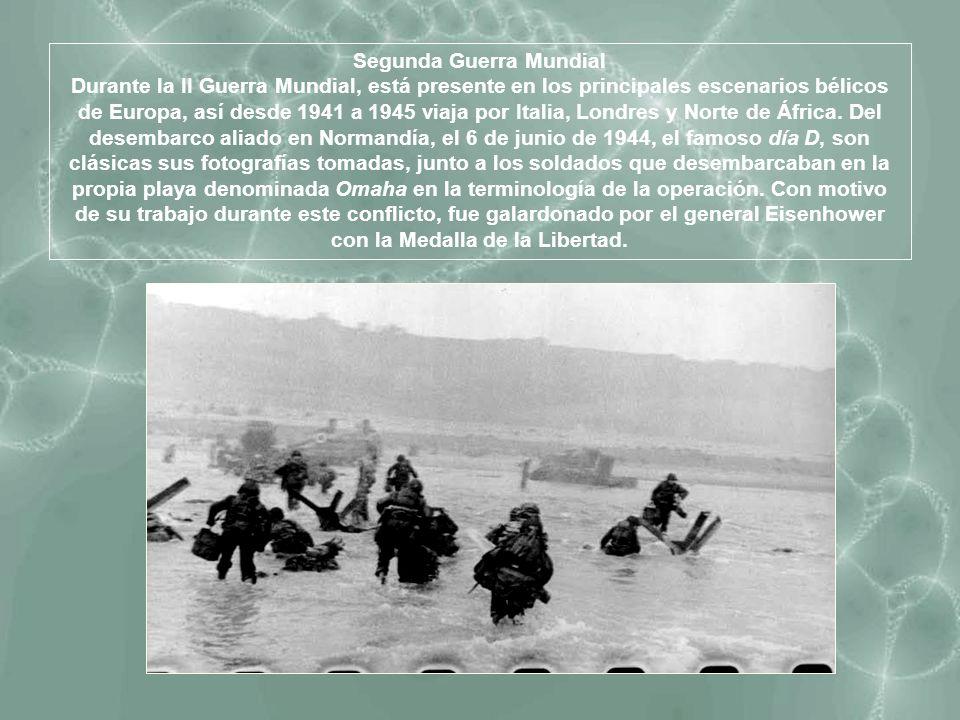 Segunda Guerra Mundial Durante la II Guerra Mundial, está presente en los principales escenarios bélicos de Europa, así desde 1941 a 1945 viaja por It