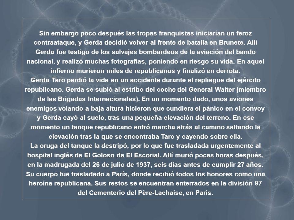 Noticia de la muerte de Gerda Taro aparecida en una periódico