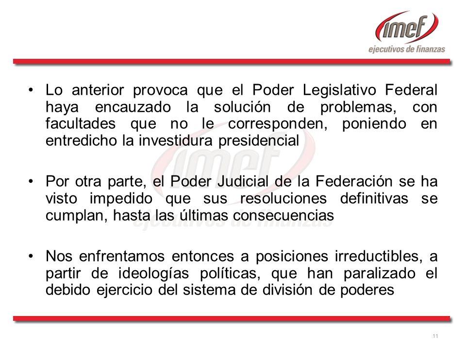 11 Lo anterior provoca que el Poder Legislativo Federal haya encauzado la solución de problemas, con facultades que no le corresponden, poniendo en en