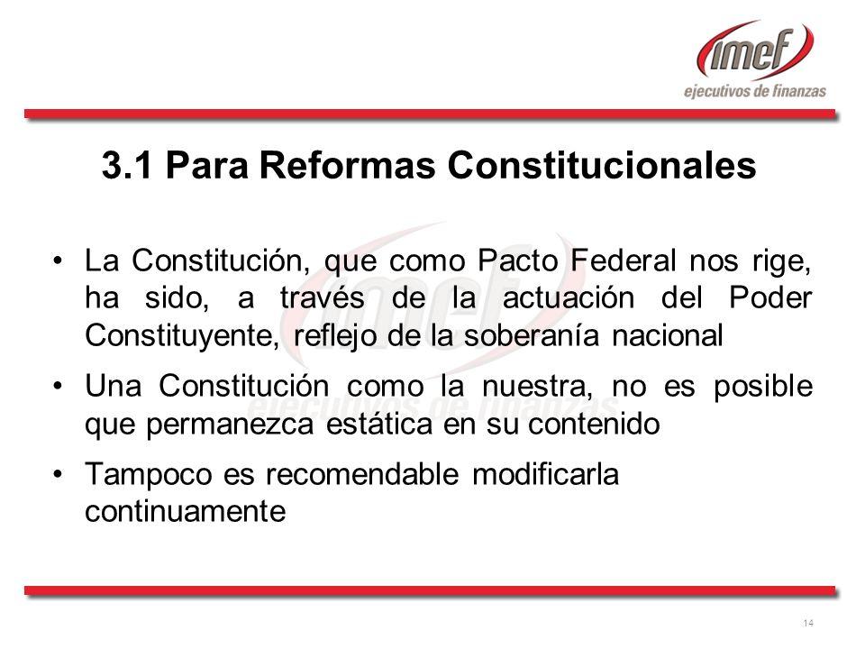 14 3.1 Para Reformas Constitucionales La Constitución, que como Pacto Federal nos rige, ha sido, a través de la actuación del Poder Constituyente, ref