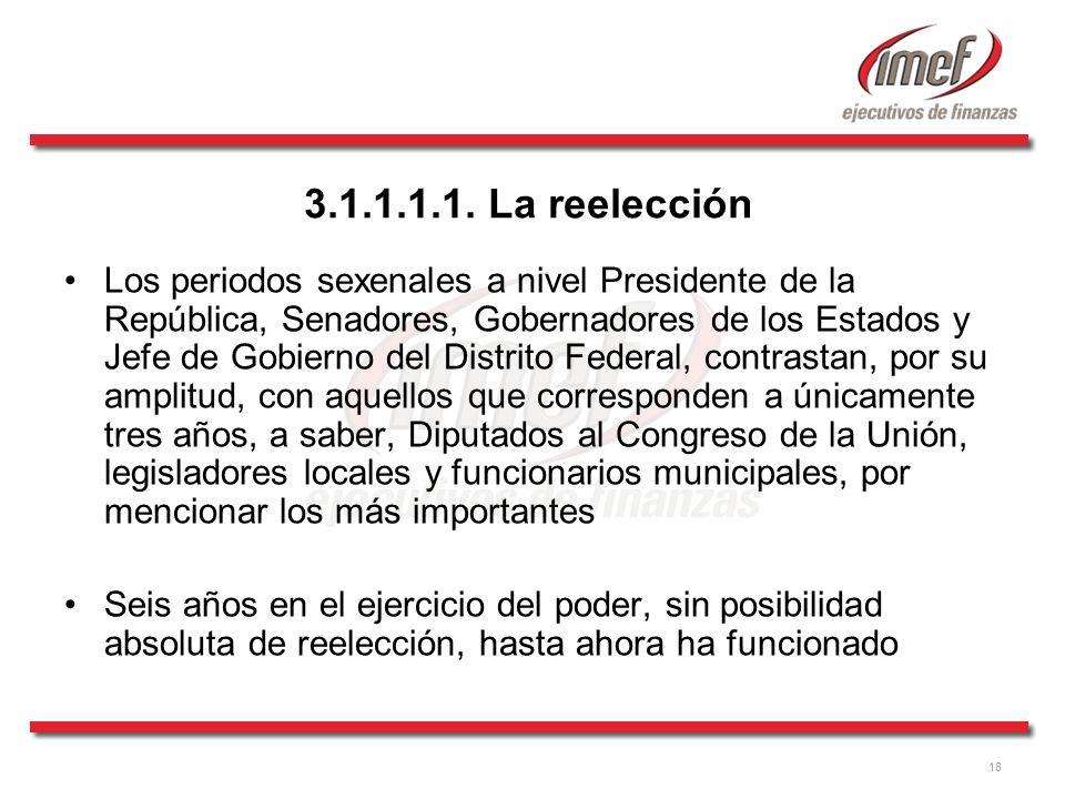 18 3.1.1.1.1. La reelección Los periodos sexenales a nivel Presidente de la República, Senadores, Gobernadores de los Estados y Jefe de Gobierno del D