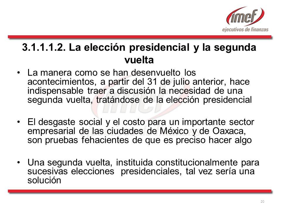 20 3.1.1.1.2. La elección presidencial y la segunda vuelta La manera como se han desenvuelto los acontecimientos, a partir del 31 de julio anterior, h