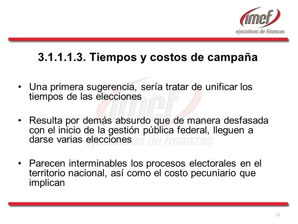 21 3.1.1.1.3. Tiempos y costos de campaña Una primera sugerencia, sería tratar de unificar los tiempos de las elecciones Resulta por demás absurdo que
