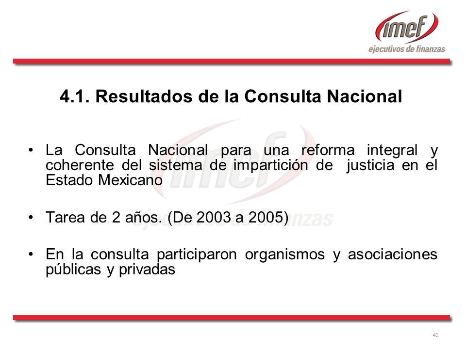40 La Consulta Nacional para una reforma integral y coherente del sistema de impartición de justicia en el Estado Mexicano Tarea de 2 años. (De 2003 a