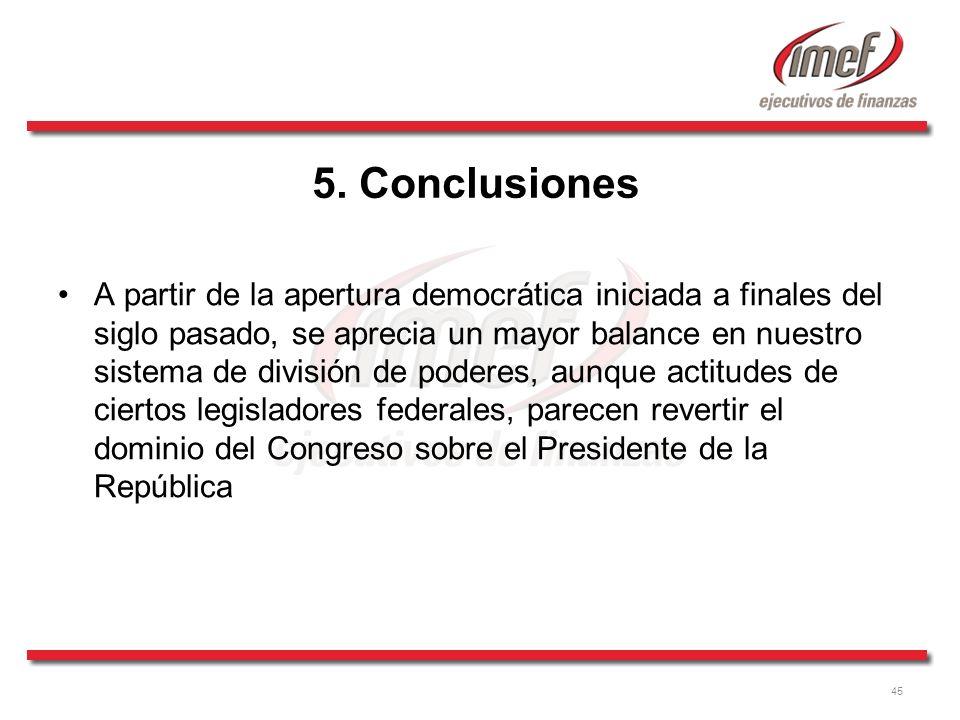45 5. Conclusiones A partir de la apertura democrática iniciada a finales del siglo pasado, se aprecia un mayor balance en nuestro sistema de división
