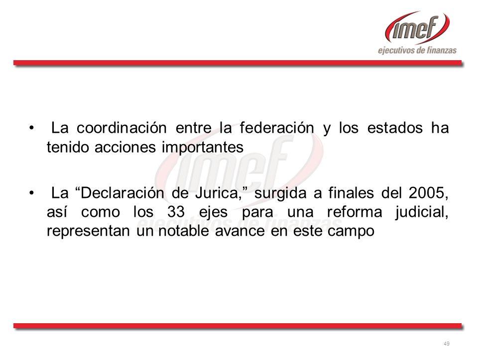 49 La coordinación entre la federación y los estados ha tenido acciones importantes La Declaración de Jurica, surgida a finales del 2005, así como los