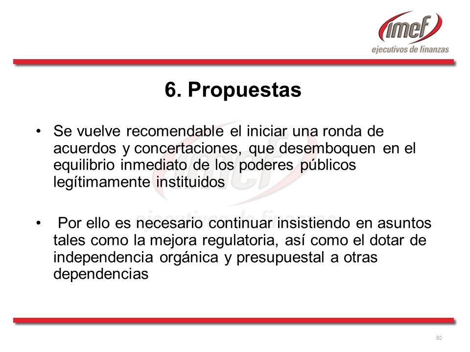 50 6. Propuestas Se vuelve recomendable el iniciar una ronda de acuerdos y concertaciones, que desemboquen en el equilibrio inmediato de los poderes p