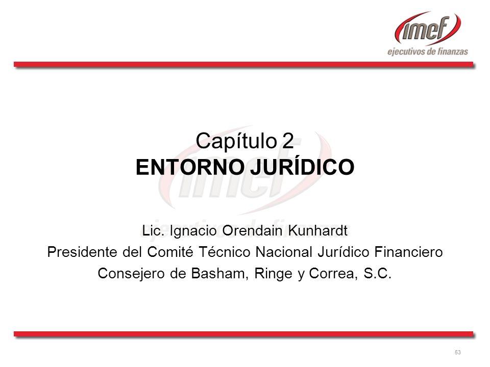 53 Capítulo 2 ENTORNO JURÍDICO Lic. Ignacio Orendain Kunhardt Presidente del Comité Técnico Nacional Jurídico Financiero Consejero de Basham, Ringe y