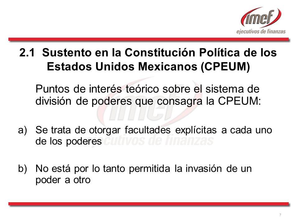 7 2.1 Sustento en la Constitución Política de los Estados Unidos Mexicanos (CPEUM) Puntos de interés teórico sobre el sistema de división de poderes q