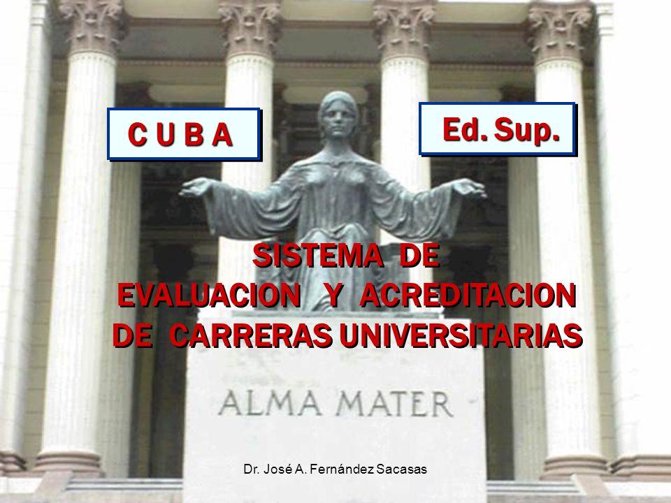 Dr. José A. Fernández Sacasas SISTEMA DE EVALUACION Y ACREDITACION DE CARRERAS UNIVERSITARIAS SISTEMA DE EVALUACION Y ACREDITACION DE CARRERAS UNIVERS