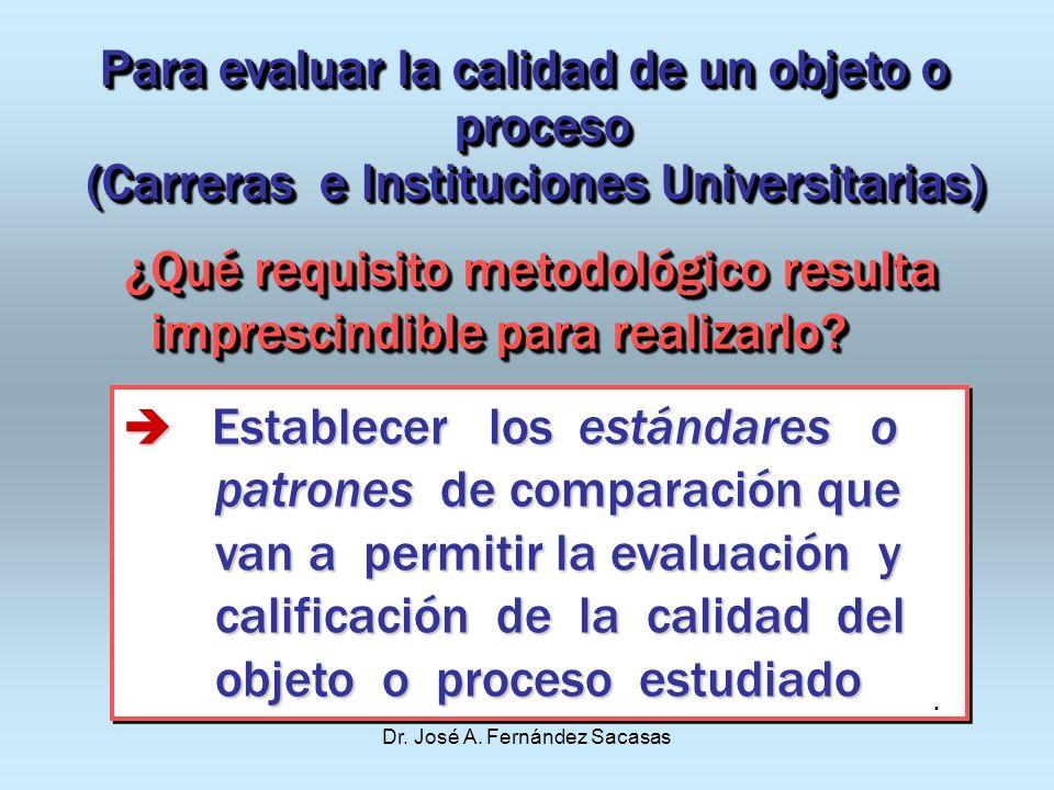 Dr. José A. Fernández Sacasas Para evaluar la calidad de un objeto o proceso proceso (Carreras e Instituciones Universitarias) Para evaluar la calidad