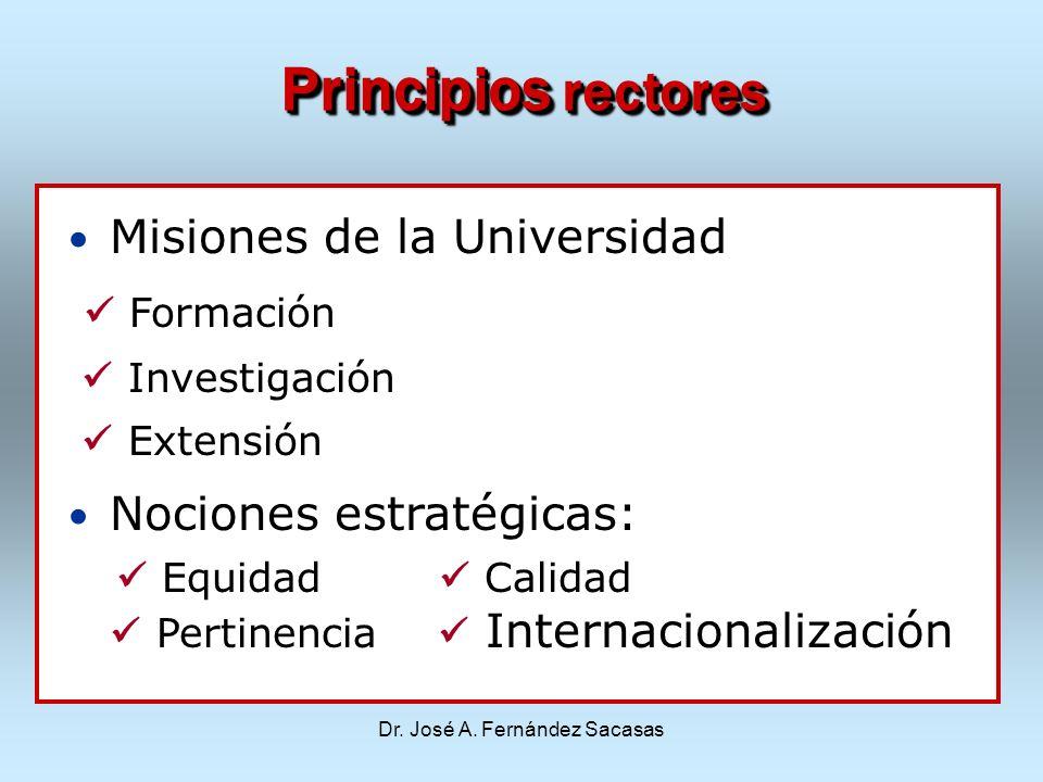 Dr. José A. Fernández Sacasas Principios rectores Misiones de la Universidad Formación Investigación Extensión Nociones estratégicas: Equidad Calidad