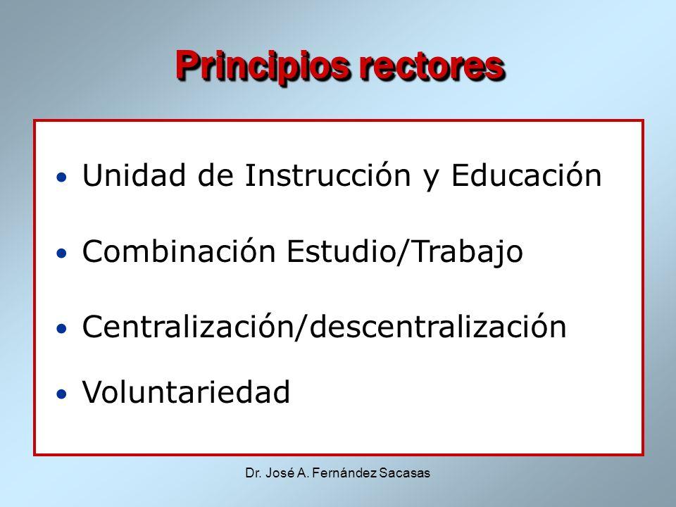 Dr. José A. Fernández Sacasas Principios rectores Unidad de Instrucción y Educación Combinación Estudio/Trabajo Centralización/descentralización Volun
